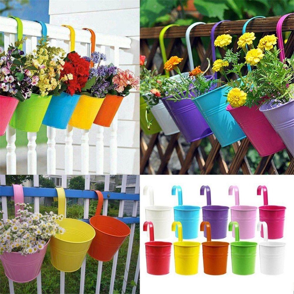 Click To Buy Wholesale 1pcs Unique Design Iron Hanging Flower Pots Garden Plant Hanging Barrels Pastoral Balcony Decor Multicolors Choo Hanging Flower Pots