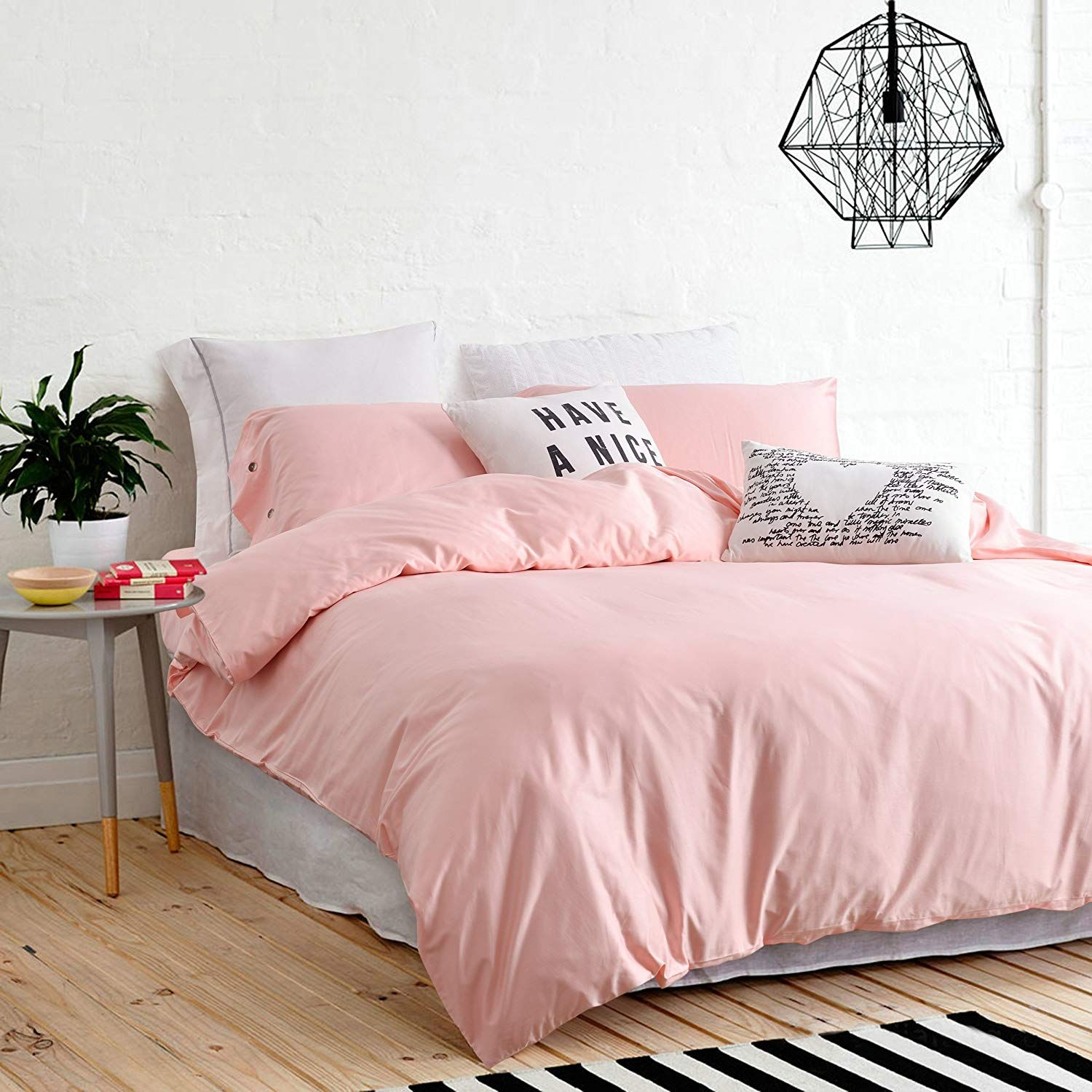 UFO Home 300 Thread Count 100% Cotton Sateen Light Pink Solid Color Pretty Girly Type 4pc Duvet Cover Set Full/Queen Size (Queen size, Pink) images