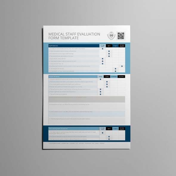 Medical Staff Evaluation Form Template CMYK  Print Ready Clean