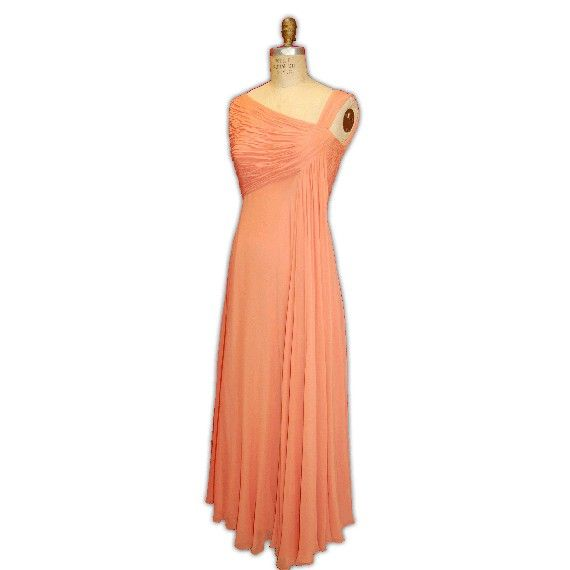 Vintage Malcolm Starr Peach Chiffon Gown 1960s | Malcolm Starr ...