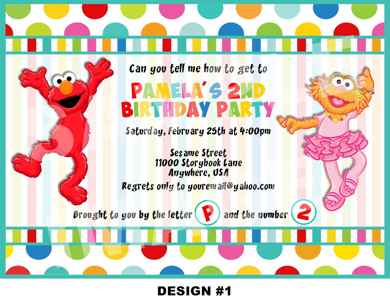Elmo and Zoe Invitation - Sesame Street | Isabella\'s birthday ...