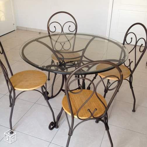 Table 4 Chaises Structure Fer Forgé Ameublement Var