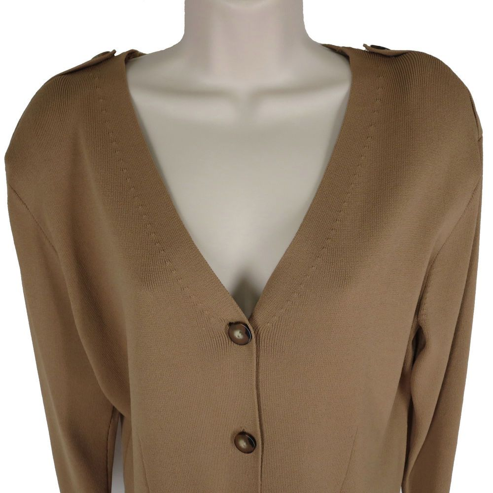 Details about Dana Buchman Petite L Brown Rayon Knit V Neck Button ...