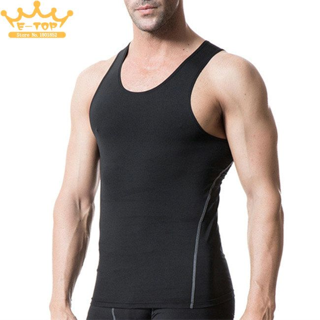 Mens Compression Tank Tops Sport Running Training Gym Vest Sleeveless Crew Neck