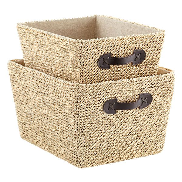 Crochet Bins The Container Store Container Store Storage Bins Wicker Baskets Storage