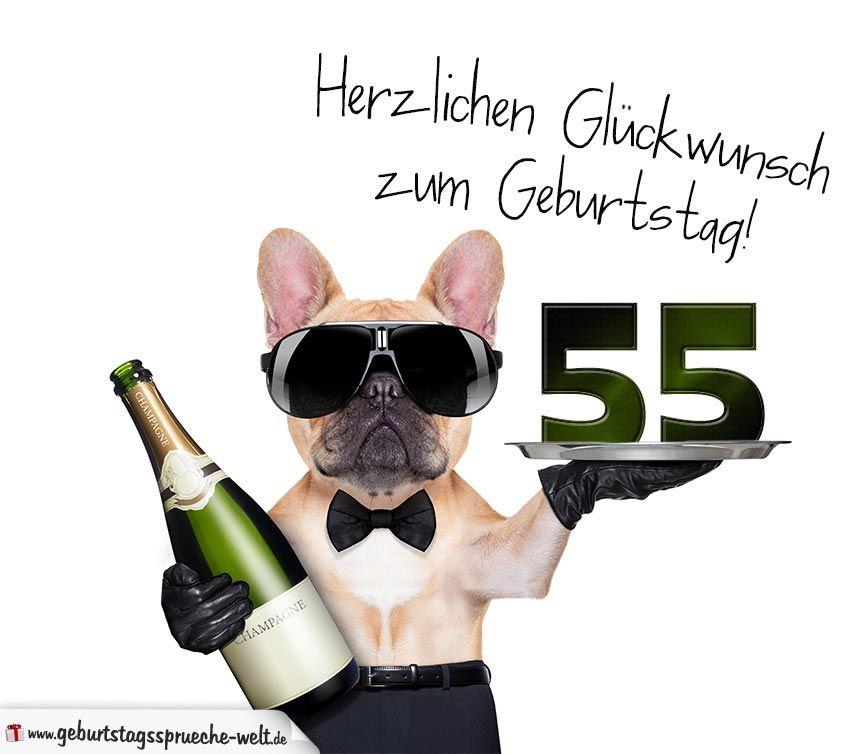 Gluckwunschkarte Mit Hund Zum 55 Geburtstag Geburtstagsspruche
