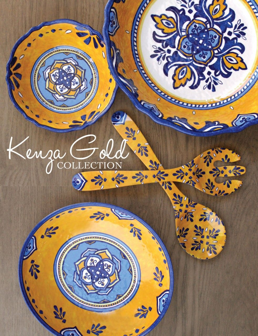 Le Cadeaux Melamine Collections #4: Le Cadeaux Kenza Gold Melamine Dinnerware Collection