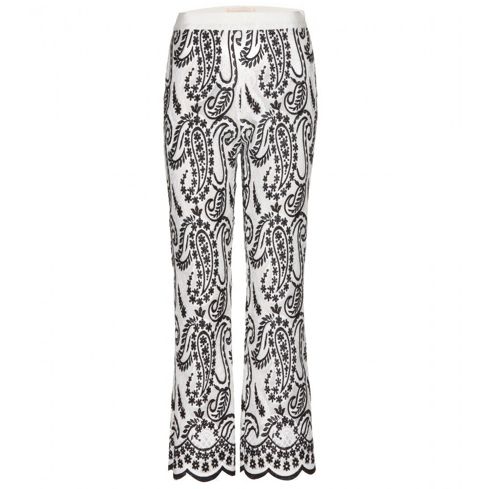 The ornate embroidery sewn onto sheer organza makes a bold statement on Giambattista Valli's straight-leg trousers, hinting at the designer's eccentric muse this season - Grey Gardens' Little Edie. Crafted in Italy, this fully lined pair is best teamed with a sweater and pumps.