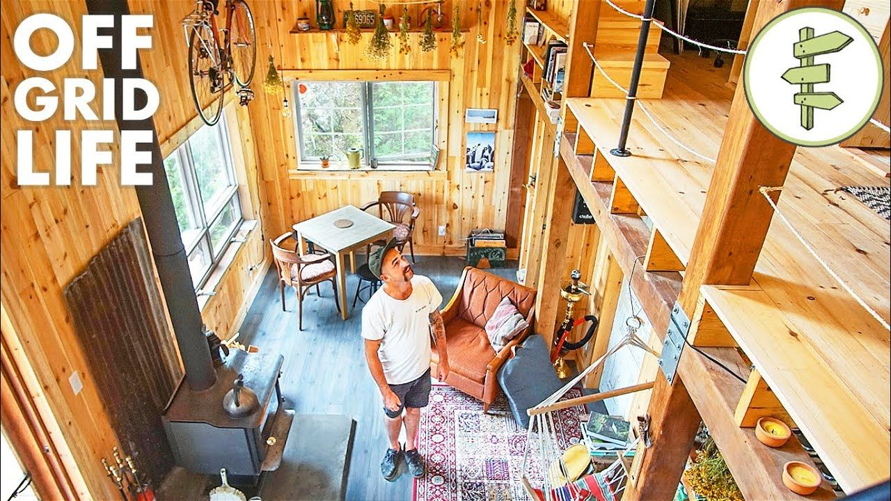 Man Living Off Grid In His Incredible Self Built Cabin Youtube