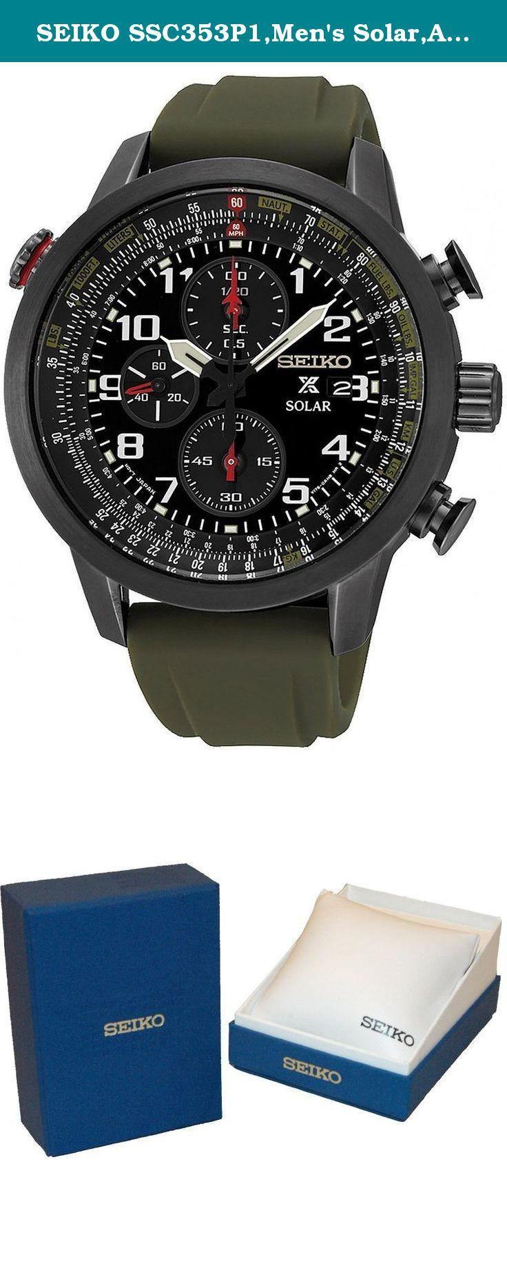 Seiko Ssc353p1 Men S Solar Alarm Chronograph Military Style