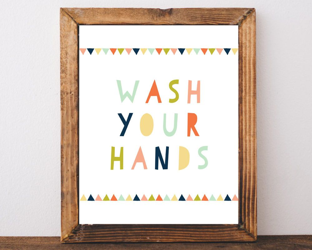 Kids Bathroom Wall Art wash your hands, bathroom sign, kids bathroom art, prints, kids