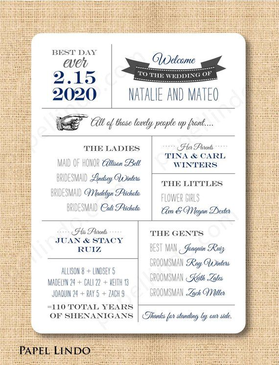 Modern Program Unique Wedding Program Fun Program Printable or PRINTED Fun Facts Fun Infographic Wedding Program Funny Program MB511