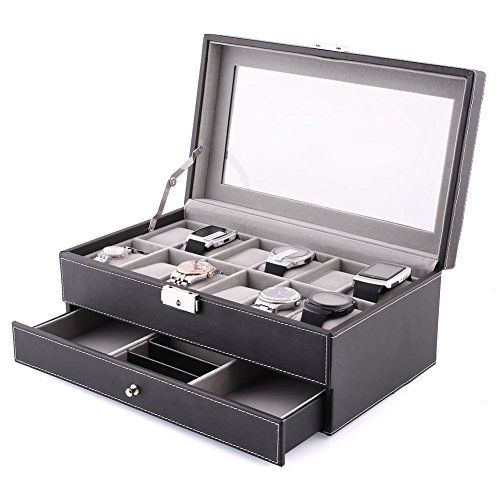 Amzdeal Black Leather 12 Watch Storage Display Box Case With Jewellery  Display Drawer Watch #deals
