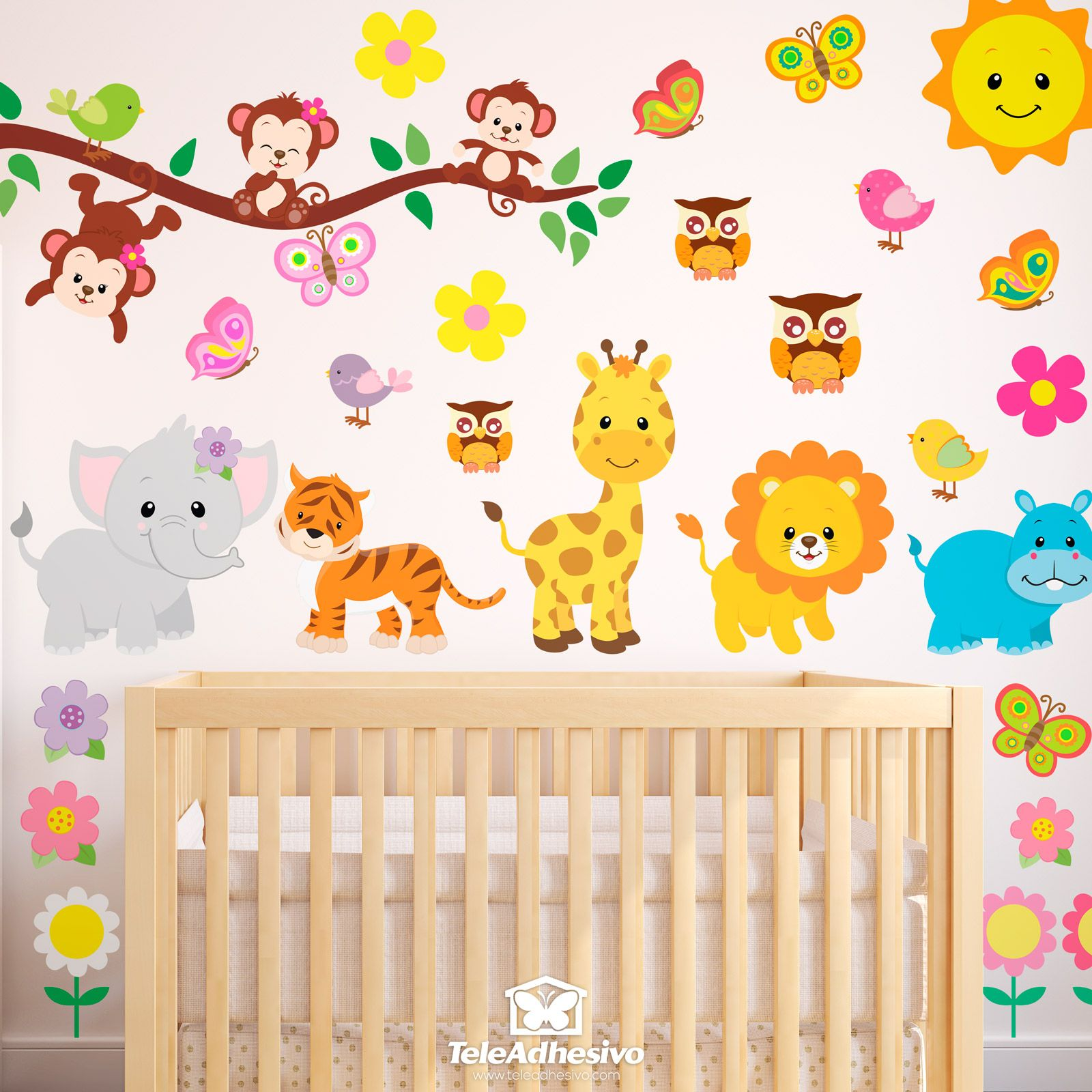 Vinilo infantil kit animales de la jungla vinilo for Sticker habitacion infantil