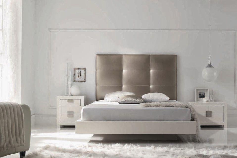 Dormitorio BARI de Expormim. Cabecero tapizado; cama, mesitas ...