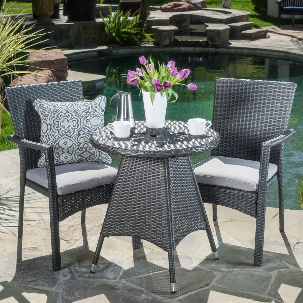 Noble House Gray 3 Piece Wicker Round Outdoor Dining Set With Gray
