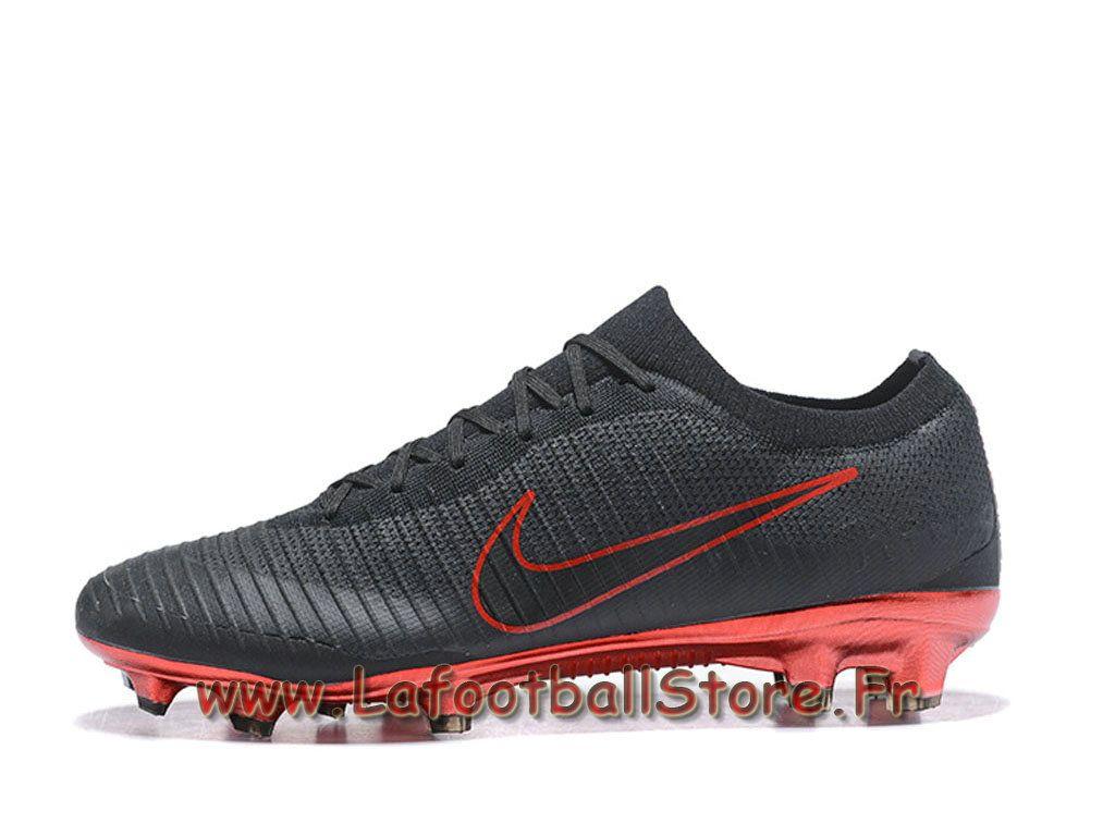 innovative design 1fc70 8934e Nike Mercurial Vapor Flyknit Ultra FG Chaussure Nike 2018 de football à  crampons pour terrain sec Noir/Rouge