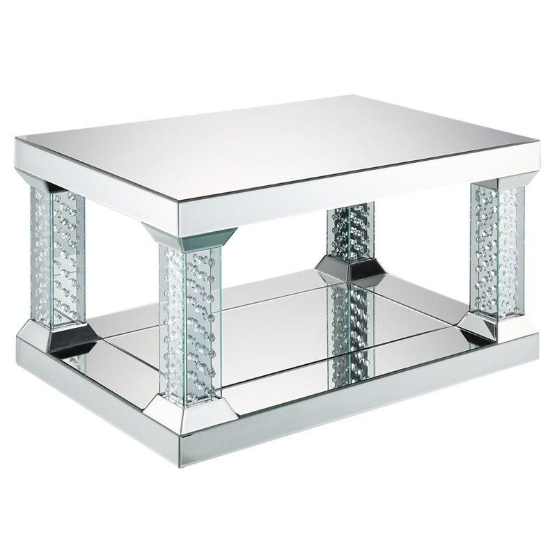 Acme Nysa Coffee Table In 2020 Coffee Table Mirrored Coffee