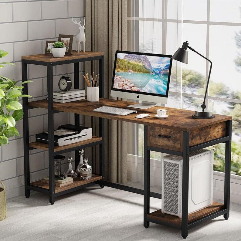 Computer Desk With 4 Tier Storage Shelves 57 Inch Large Etsy In 2021 Pc Desk Rustic Office Desk Desk