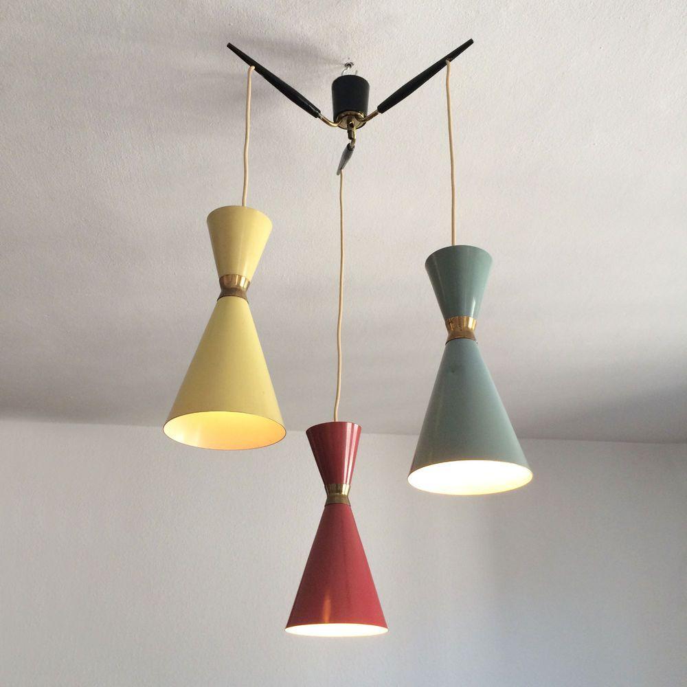 Mid century drum lampshades pendant light fixtures - Mid Century Tri Color Chandelier Diabolo Pendant Lamp Arteluce Sarfatti Stilnovo