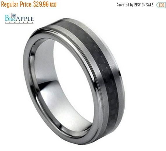 Tungsten His Her Ring Wedding Band 7MM Ridged Edges Center Carbon Fiber Inlay Brushed Polished Comfort Fit Unisex