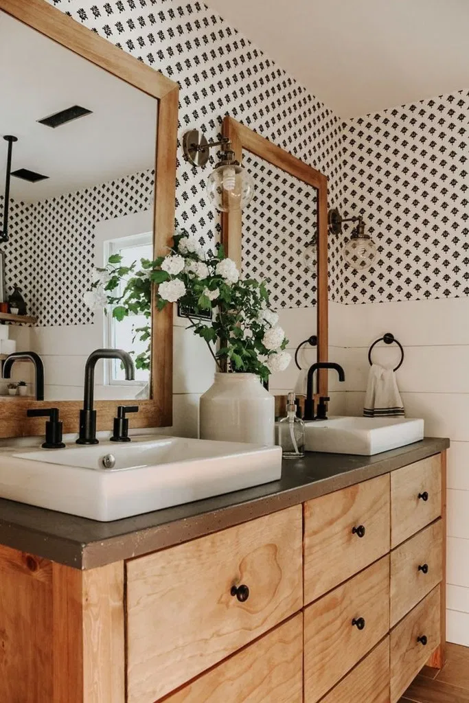 37 modern farmhouse bathroom reveal with boho vibes#bathroom #boho #farmhouse #modern #reveal