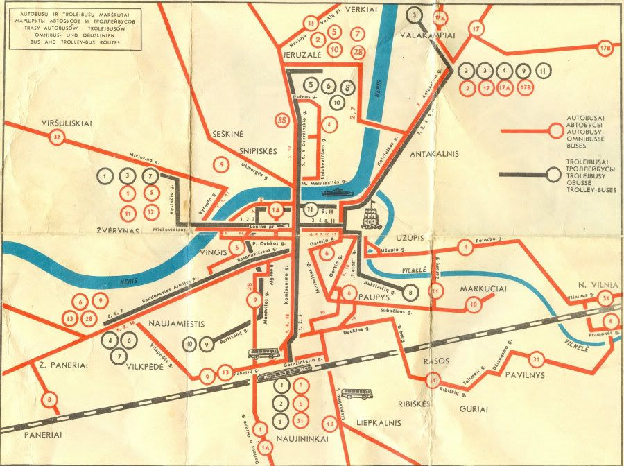 Historical Map Bus and Trolleybus Routes in Vilnius Lithuania