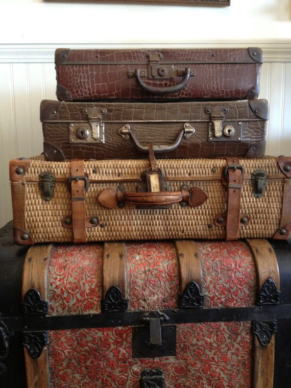 Antique Wicker And Leather Suitcase Luggage, Belting Leather Straps, Large  Stackable Props Display, Home Decor