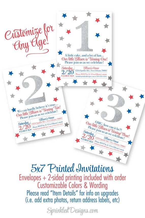 4th of July First Birthday Invitations - Red White Blue Kids