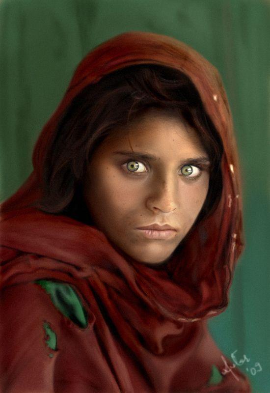 Afghan Girl By Avtar Kaur Beautiful Eyes  Steve Mccurry -2756
