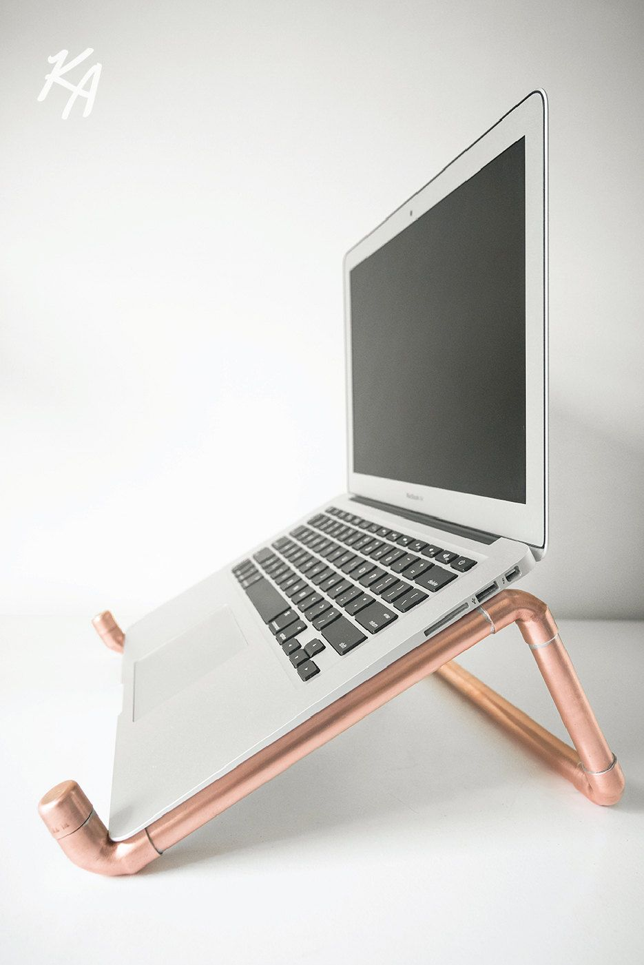 Copper pipe laptop stand laptop notebook stand desk for Un stand
