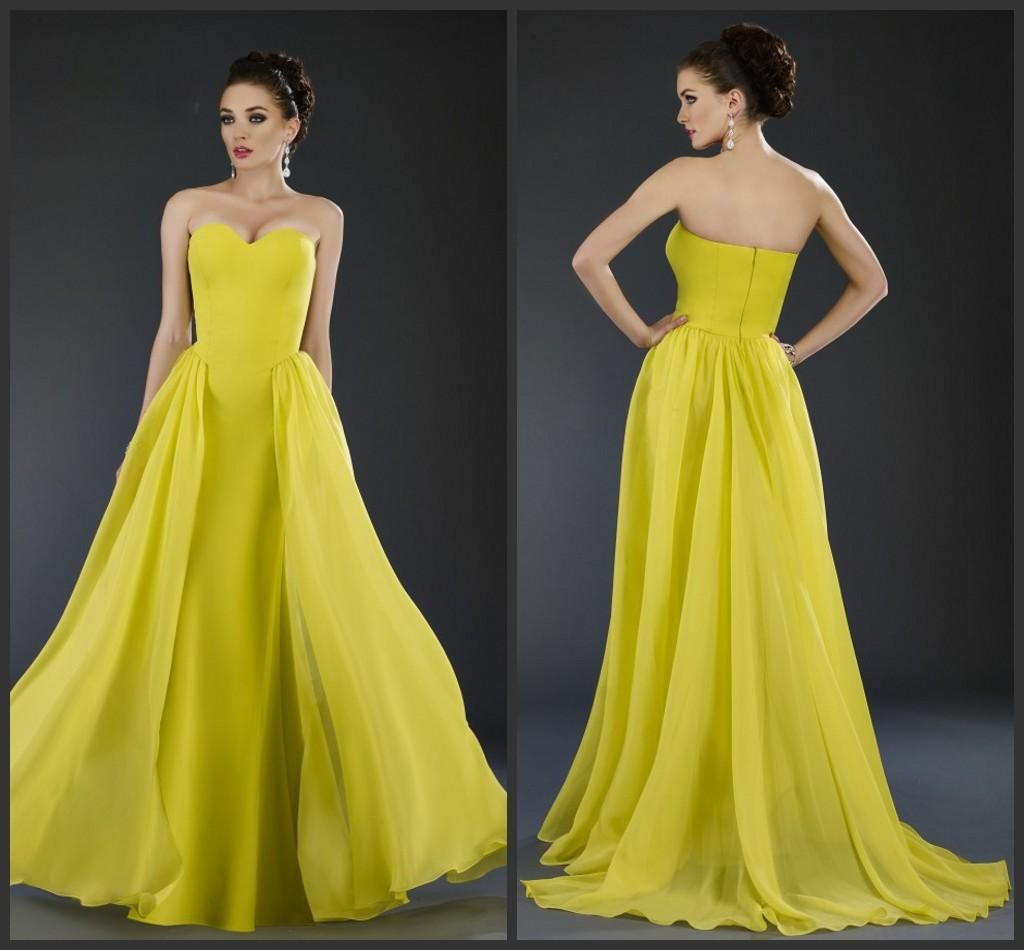 Yellow evening dress with peplum train evening dresses pinterest