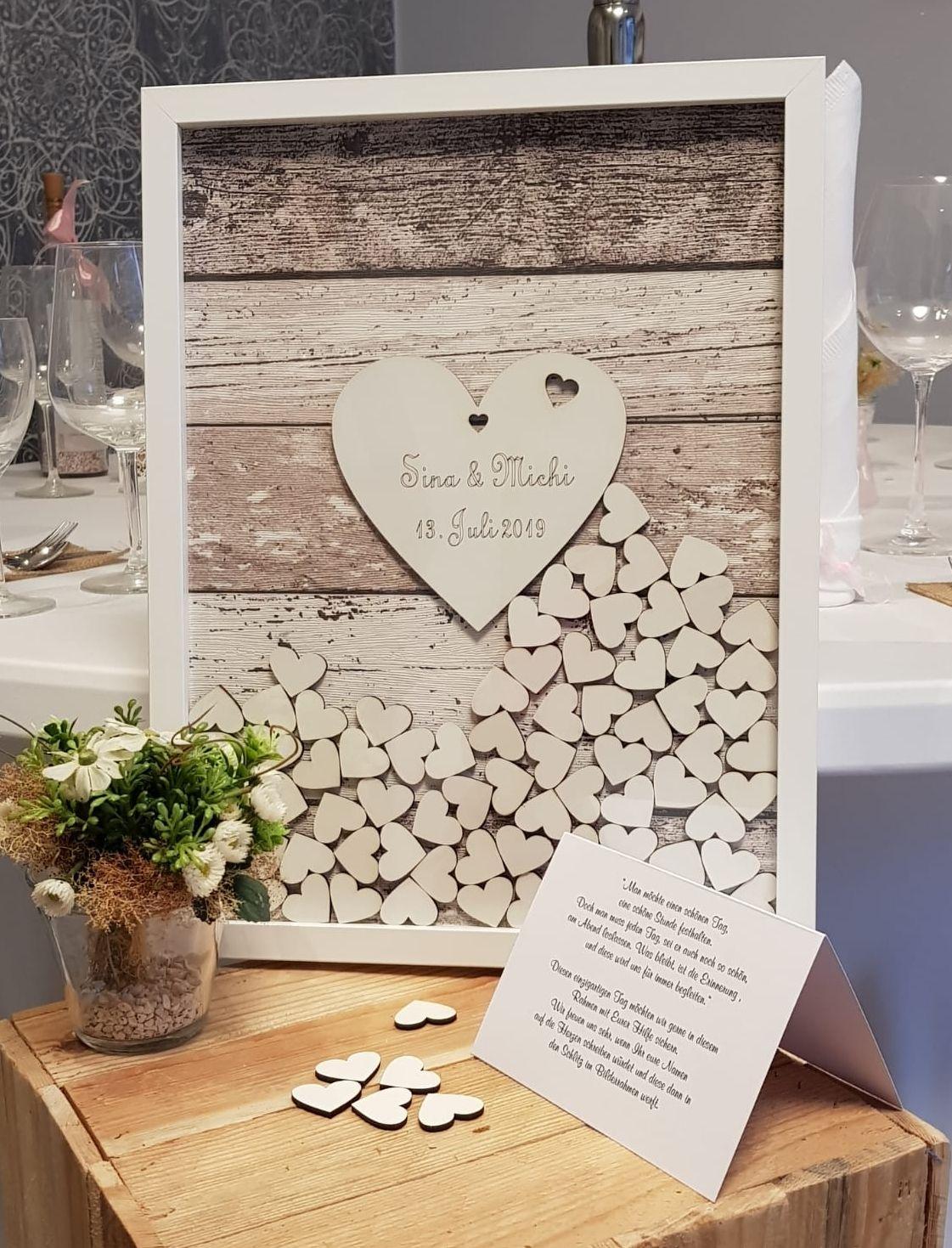 Hochzeitsgastebuch Mit Holzherzen Zum Einwerfen Gastebuch Hochzeit Hochzeitsgastebuch Gastebuch Hochzeit Holz