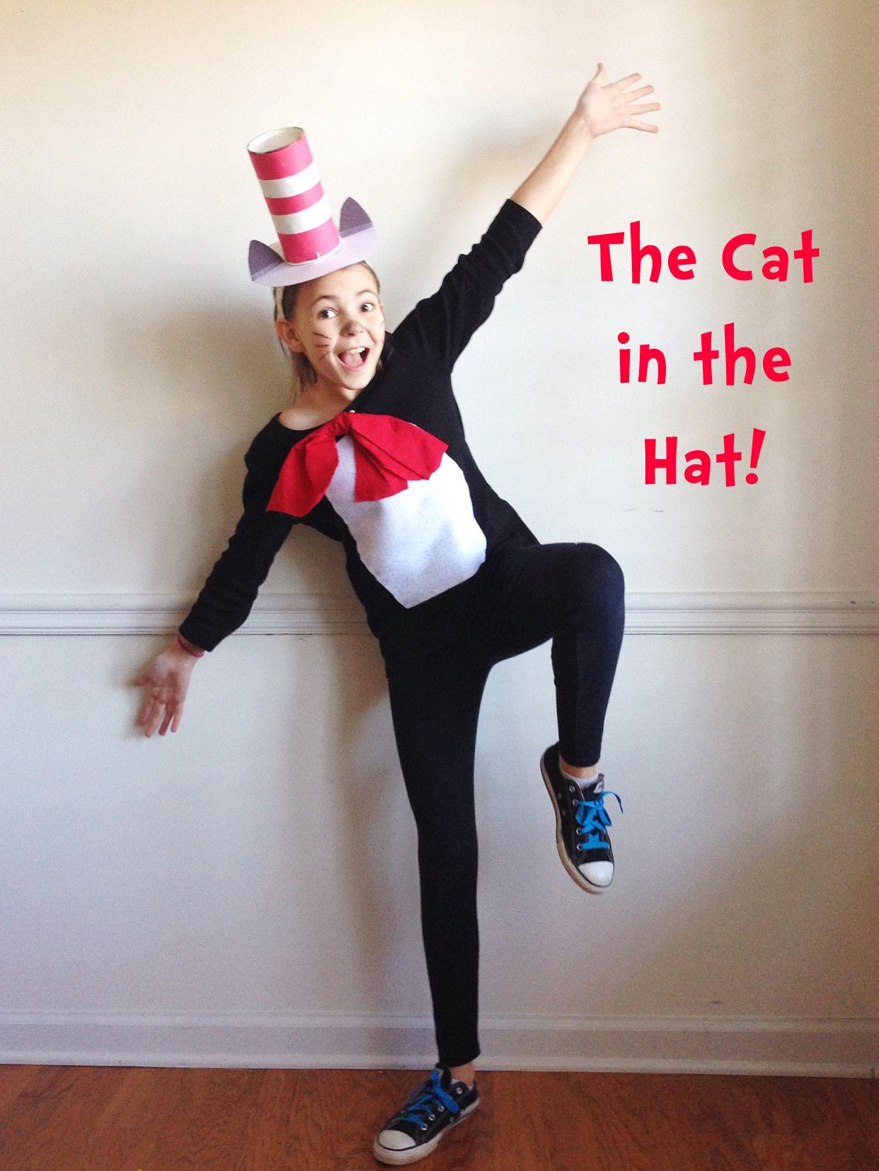 DIY Cat in the Hat costume. Black shirt and leggings