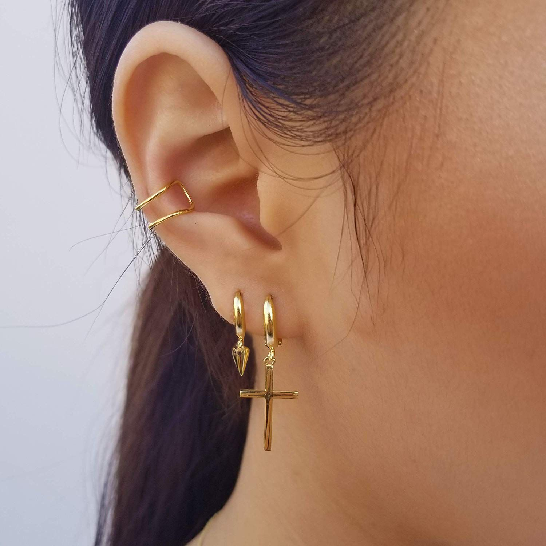 Small Hoop Earrings With Charms Huggie Dangle Earrings With Ear Cuff Spike Cross Earrings Hoop Earrings Small Pretty Earrings Earrings