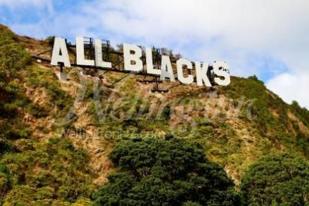The All Blacks sign in Wellington, New Zealand during the Rugby World Cup.