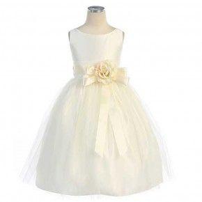 Sweet Kids Little Girls Ivory Tulle Satin Easter Flower Girl Dress 6