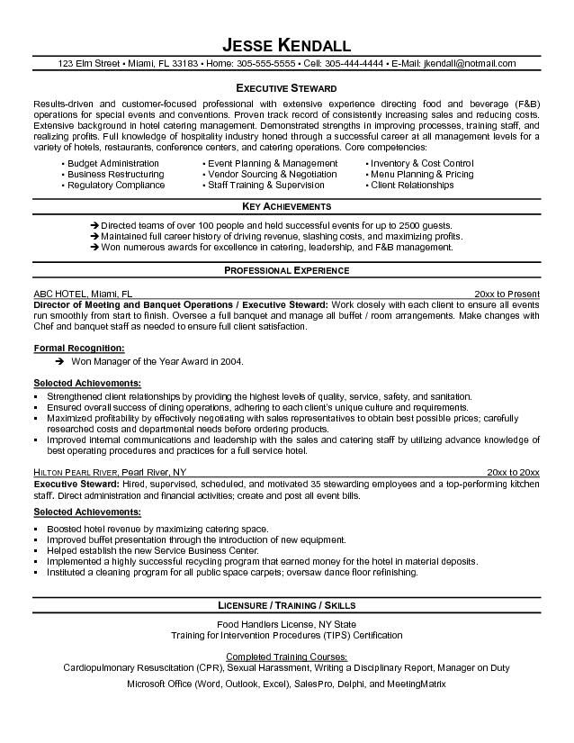 Sample Chef Resume cakepins Back to School Pinterest