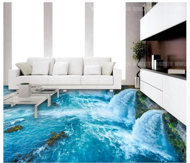 Toll Benutzerdefinierte 3 D Pvc  Wasserfall Und Bad Küche 3 D Boden Zu Meer  Boden Tapete