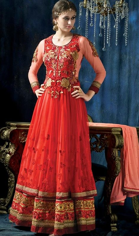 Splash a sensation of innocence and beauty this red and rose pink embroidered net Anakali suit. Beautified with floral patch, lace and resham work. #AttractiveHotRedNetAnarkali