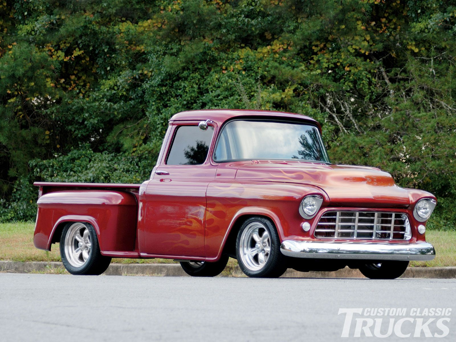 Custom Pickup Trucks | 1957 Chevy Pickup Truck Custom Flame Paint ...