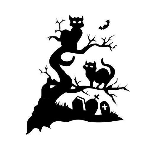 Grusel halloween wandtattoo halloween schwarz katzen baum grab tattoo aufkleber sticker f r - Halloween fensterdeko ...