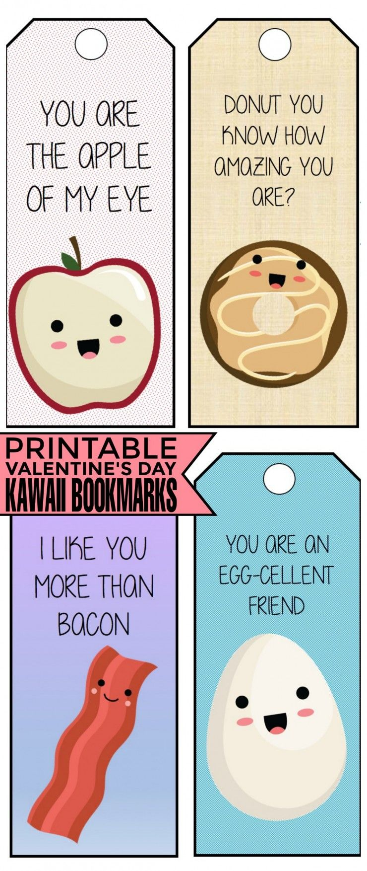 These Free Printable Valentines Day Kawaii Bookmarks Are Super Cute I Love Kawaii Food Illustrations They Are Adorable They Are Perfect For Classroom