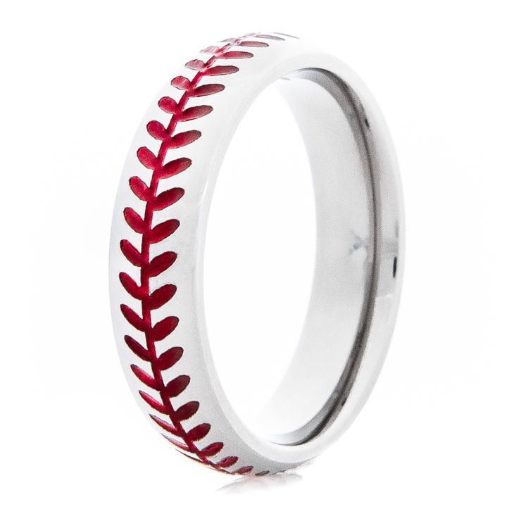 Women's Titanium Baseball Stitch Ring with Color is part of Baseball stitch ring - Mens wedding bands and wedding rings for the most discerning tastes  Browse our collections of mens wedding rings to pick the right wedding band for men  Shop now!