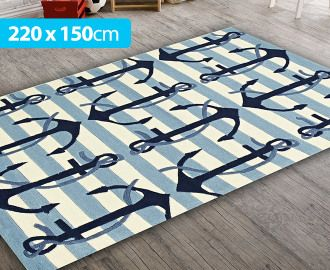 Creative Kids 220 X 150cm Anchor Rug Blue White For Nautical Themed Nursery Or Toddler Room