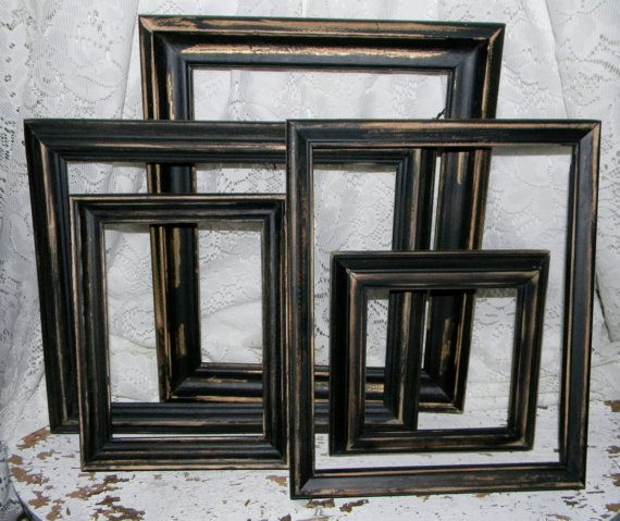 Distressed Black Frames 5 Pc Set Rustic Primitive Home Decor Frame