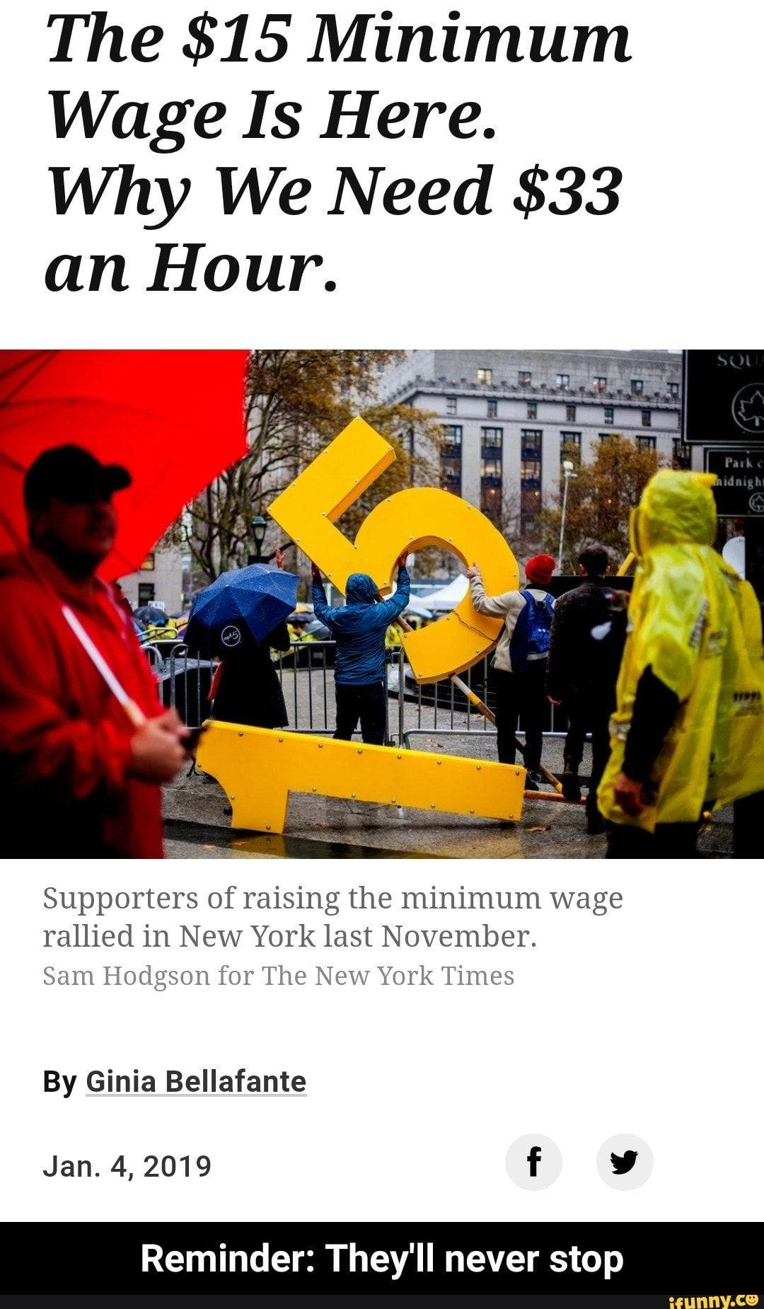 The 15 Minimum Wage Is Here Why We Need 33 An Hour Supporters Of Raising The Minimum Wage Rallied In New York Last November Sam Hodgson For The New York Ti
