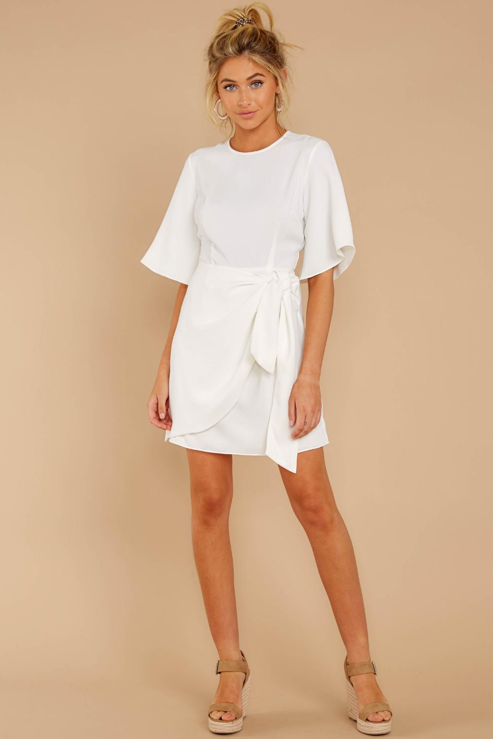 Cute White Short Sleeve Dress Short Faux Wrap Dress Dress 48 00 Red Dress Red Dress Women White Short Sleeve Dress Cozy Sweater Dress [ 1499 x 1000 Pixel ]