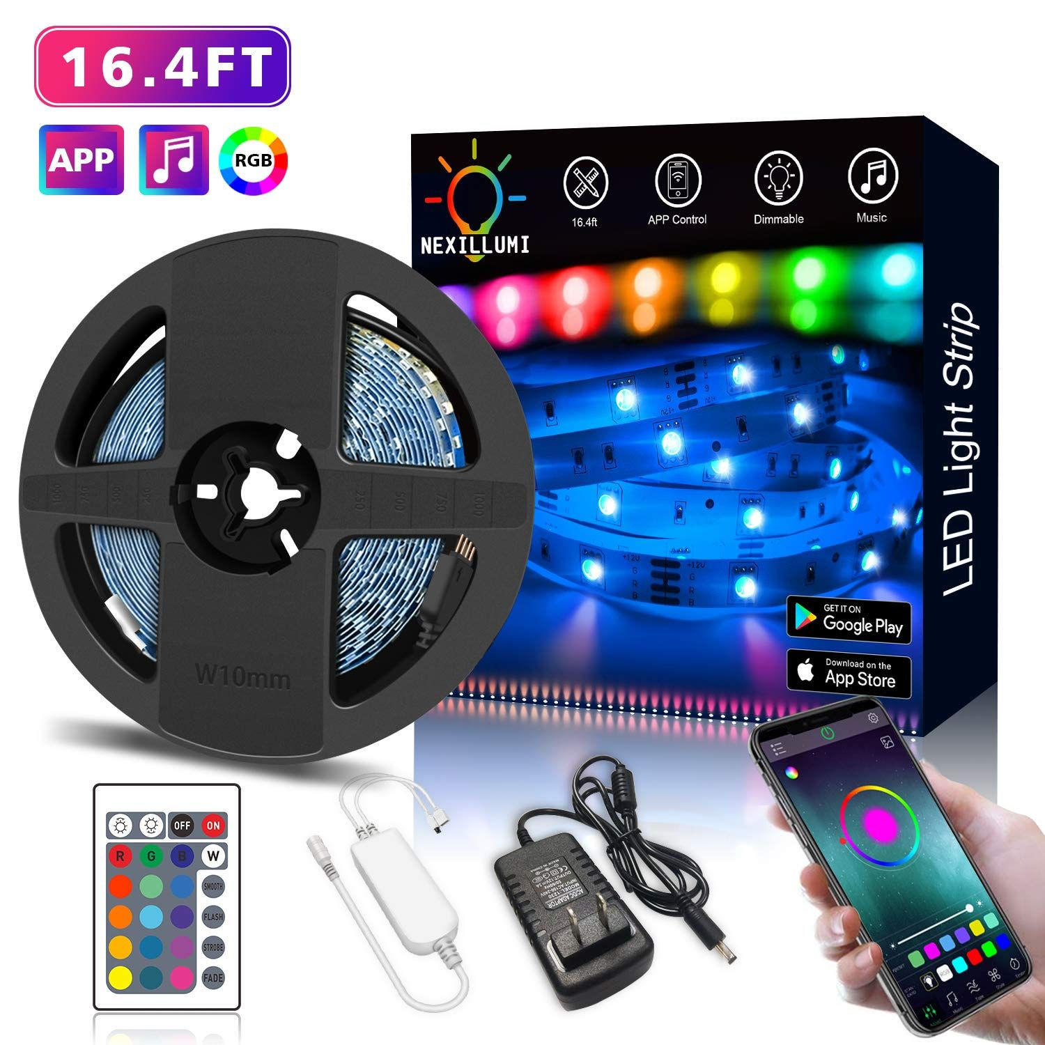 Nexillumi Led Strip Lights With Remote App Control Color Changing