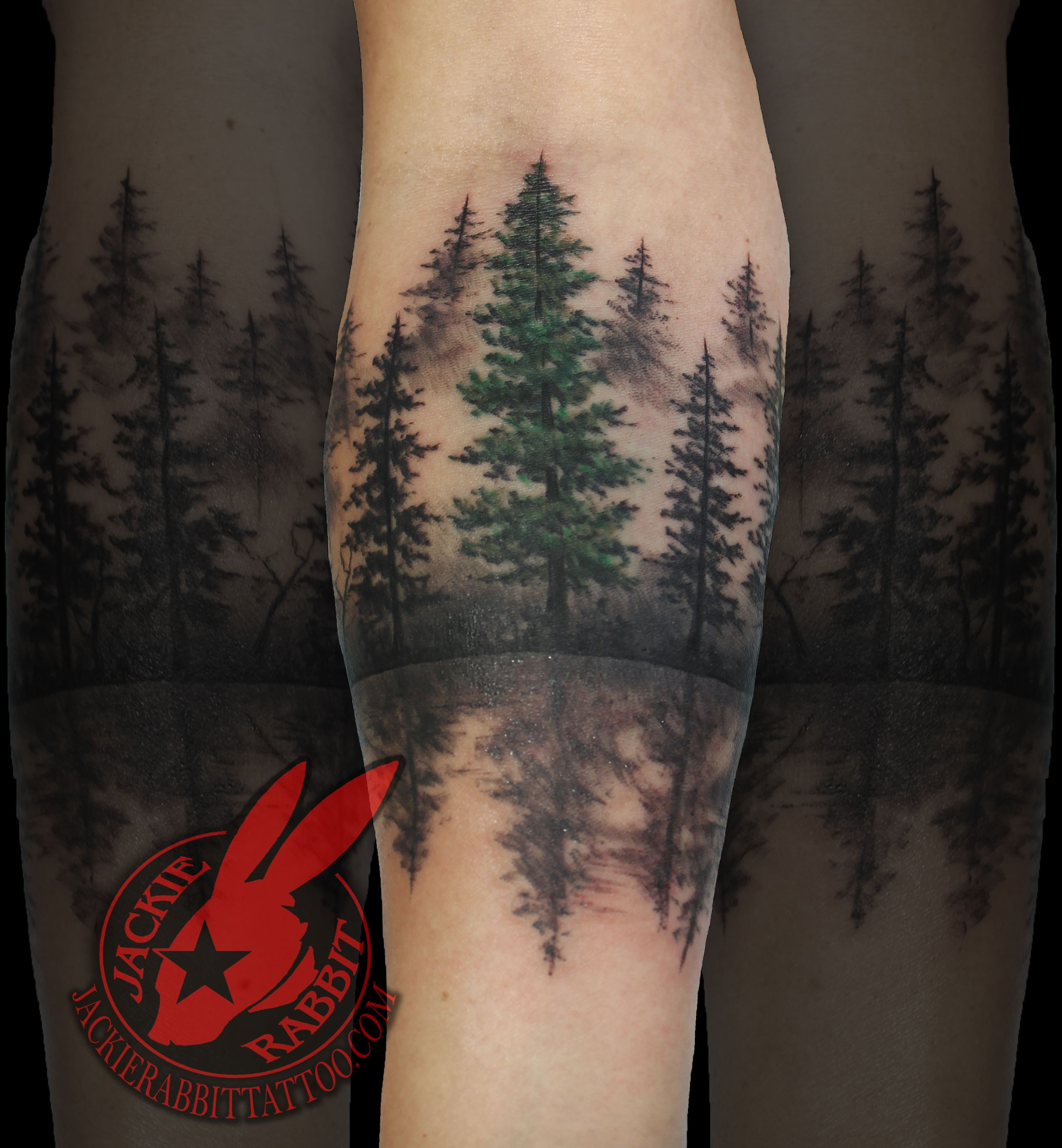 Pine Tree Forest Silhouette Realistic Around Arm Tattoo by